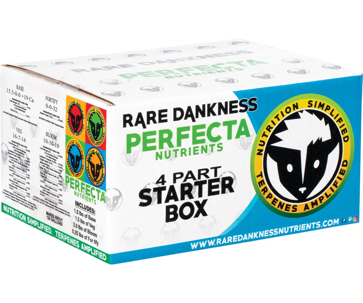Rare Dankness Nutrients - Perfecta Starter Box (4-Part) Rare Dankness Perfecta Starter Box (4-Part) has all the nutrients a home grower needs to run a personal hydroponic garden, all the way through harvest. The Perfecta 4-Part Starter Box includes: 1.5 LBs of Rare Dankness Perfecta BASE, 1.5 lbs. of Rare Dankness Perfecta VEG, 2 lbs. of Rare Dankness Perfecta BLOOM, and ¼ lb. of Rare Dankness Perfecta FORTIFY. The Perfecta Starter Box contains everything needed for a 6-plant home hydroponic grow. This will make approximately 125 gallons of vegetative feed solution and 125 Gallons of blooming/budding feed solution. Lab Tested Made in the USA It is compatible with all injectors and fertigation systems. It is also compatible with all hydroponic growing systems and growing media. Rare Dankness' high standard of quality Guaranteed free of heavy metals Increases harvest weight, potency, and terpenes Easy custom mixing for all types of growing situations Compatible with all hydroponics and fertigation systems Compatible with all growing media Mixes easily in room-temperature water