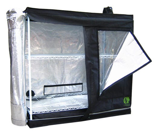 GrowLab Clone Lab - 4ft 1in x 2ft 1in x 3ft 11in The GrowLab GLCloneLab has all the features you could ask for - and more! Outfit the GrowLab with the ventilation fan, lighting system and growing system of your choice and you will have the brightest, slickest, and most affordable grow room available. Growlab CloneLab: 4'1 x 2'1  x 3'11  (outside dimensions) Increased weight capacity - roof cross-members easily support 100 pounds Sturdy powder coated framework - helps protect against rust and gives a cleaner look; thicker than previous models Highly reflective interior for improved lighting performance Thermally protected - tent material reflects 97% of all radiant heat for superior insulation Completely non-toxic - will not react under light and heat, and no off-gassing to harm plants Improved fabric & zippers - thicker fabric than previous models, with the best zippers on the market Moveable roof cross-members - easily adjust lighting and accessories; pieces snap into desired place for better functionality Multiple intake/exhaust ports, including two ports opposite each other at reflector level for air-cooling of lighting system on most models Adjustable fan and ducting attachments - no more clamps or reducers needed! Waterproof floor - a second floor that is removable for easy cleaning between crops