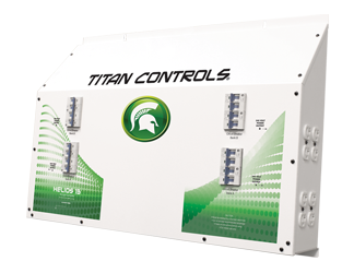Titan Controls Helios 13 - 16 Light 240V Controller with Timer The Helios 13 - Sixteen (16) light controller with 24 hour timer provides up to 16,000 watts of lighting control. This 'Professional Series' commercial lighting controller is built using industrial grade Allen Bradley components, one of the most respected names in the industry! And it's built right here in the USA! Titan Controls continues to bring you the top quality controllers that you've come to expect. Gardening with the gods, what could be better! This controller will run sixteen (16) HID lights at 240 Volts. Features premium quality Allen Bradley 'ballast rated' relays. Premium quality timer with battery back-up — Keeps lighting schedule in the event of power failure. Sequenced lighting delays (0 – 30 seconds) for each light bank. ETL listed for use in commercial applications. NEMA 6-15 UL Listed 240 VAC power outlets. Manufactured in the USA! 80 Amps/240 Volts/60 Hz./16,000 Watts. 3 year warranty. Titan Helios 13 Instructions Warranty is void if non-copper wiring is used. It is recommended that you re-tighten all connections every 60 to 90 days to avoid possible arcing and potential input terminal meltdown. Arcing power due to loose connections is not covered under warranty.