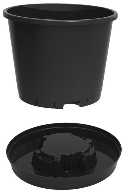 Maxipot Twistpot Pot w/ Saucer - 13 inch *DISCONTINUED* This item has been discontinued, Please try our selection of Round Pots for an alternative. Did you water too much? Just lift, twist and stand! Twistpot allows excellent drainage and air circulation to your roots, meaning they can now flourish and thrive, as they will not experience problems like root rot and the build-up of bad bacteria's which are caused by compost remaining moist and starting to sour, which can occur a lot in ordinary pots and trays, as they are usually left sat in there runoff after watering or over watering. Now with our product you just simply lift and twist the pot clear of the base, until it locates onto the stand designed into the tray, then if you over water by mistake, you don't have to worry, meaning you can relax safe in the knowledge that your plants are going to be just fine and remain nice, healthy and problem free. 15 Drainage Holes, and 3 Large Aeration Holes at the bottom of each pot. Most people worldwide use multipurpose compost. And understand that once it has dried out it can take time to become saturated again. The most preferred method is to leave your pot in a bucket of water overnight. Which means messing your plants around and potentially damaging them. With Twistpot you just simply flood the tray, drop your pot in, and then allow the water to be absorbed. Once absorbed you then simply lift and twist the pot and drain away any excess. It's that easy! Makes watering easier and more efficient as the tray catches run off which can be reabsorbed. Pot size is ideal for tomatoes, cucumbers, peppers and other greenhouse crops, and especially as it can help prevent Neck rot in Cucumbers and Blossom end rot or split fruit in tomatoes. All caused by irregular watering and or compost drying out. Helps prevent stress in plants caused by either irregular watering or over watering. Evaporation from the tray on hot days helps prevent leaf scorch in the same way a gravel tray would. Maintains Humidity in greenhouses with the trays being