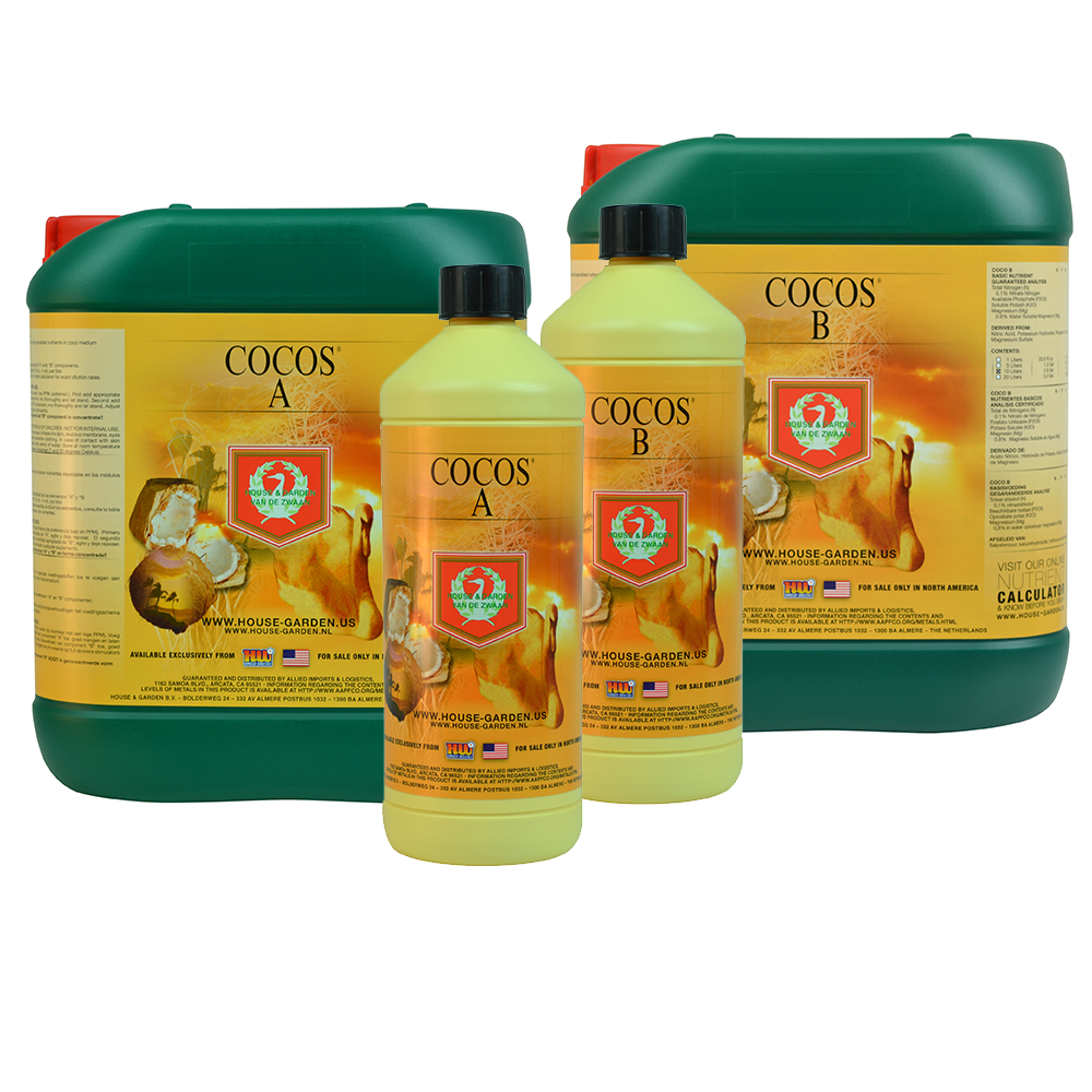Cocos Nutrient A & B (together) by House & Garden House & Garden exercised great care when formulating Cocos A&B. Coco growers know that it takes an extremely precise nutrient formulation to get it just right with a coco medium. House & Garden's Cocos A&B nutrient provides the plant with high quality nutrition during the growth and flowering periods. Cocos A&B is composed of liquid main and trace elements and contains no bulking agents like solid fertilizers. Our liquid formulation is 100% water soluble and its unique composition assists with the transfer of nutrients from the root zone into the foliage. Application dosage may be adjusted to both normal and aggressive strengths. Derived From: Calcium Nitrate, Ammonium Nitrate, Nitric Acid, Potassium Hydroxide, Phosphoric Acid Anhydride, and Magnesium Sulfate. Ingredients Explained: Cocos A&B is specifically formulated for gardeners who employ coco medium. As with all House & Garden products, Cocos A&B is extremely concentrated and has a low dilution rate. House & Garden maintains their own nutrient manufacturing facility as well as their own laboratories where they continually test each batch of fertilizer they produce. This ensures that gardeners employing House & Garden receive high quality, consistent products Application: Combine equal parts of Cocos A&B with feed water at a dilution rate of 1L of Cocos A and 1L of Cocos B per 250L of water. Available Sizes: 1L, 5L, 10L & 20L