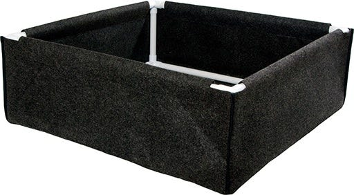 "Dirt Pot Box, 3' x 3' Dirt Pot Box, 3' x 3' The Dirt Pot Box from Hydrofarm offers value and versatility. They can be used for raised bed gardens or as tray liners for hydroponics systems. Dirt Pots feature porous breathable fabric. They allow your plants to thrive by promoting exceptional root health and vigorous growth. While these work well outdoors, they also fit standard hydroponics trays for use indoors. It's PVC frame makes the Dirt Pot Box stronger than similar products. Dirt Pot Box Features: Instant raised bed or framed tray liner Sturdy frame supports top, bottom, and corners Sized to fit INSIDE all of our Active Aqua trays, including Low Rise trays Also fits competitors' trays Breathable fabric means superior drainage and aeration Washable and durable—can be used season after season Assembled Dimensions of 34""L x 34""W x 12""H BPA-free"