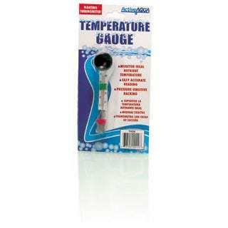 Floating Thermometer The Active Aqua floating thermometer delivers easy and accurate readings of your water temperature. No more worries about losing your tools to the depths of a pool or other body of water. This gauge floats and has a pressure sensitive backing for easy mounting. It features readings in both Celsius and Fahrenheit, as well as clear markings that delineate ideal nutrient temperature.