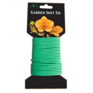 Garden Soft Tie Garden Soft Tie is 8 meters (26 feet) long. It gently secures plants with a padded tie that will not cut into the stems.