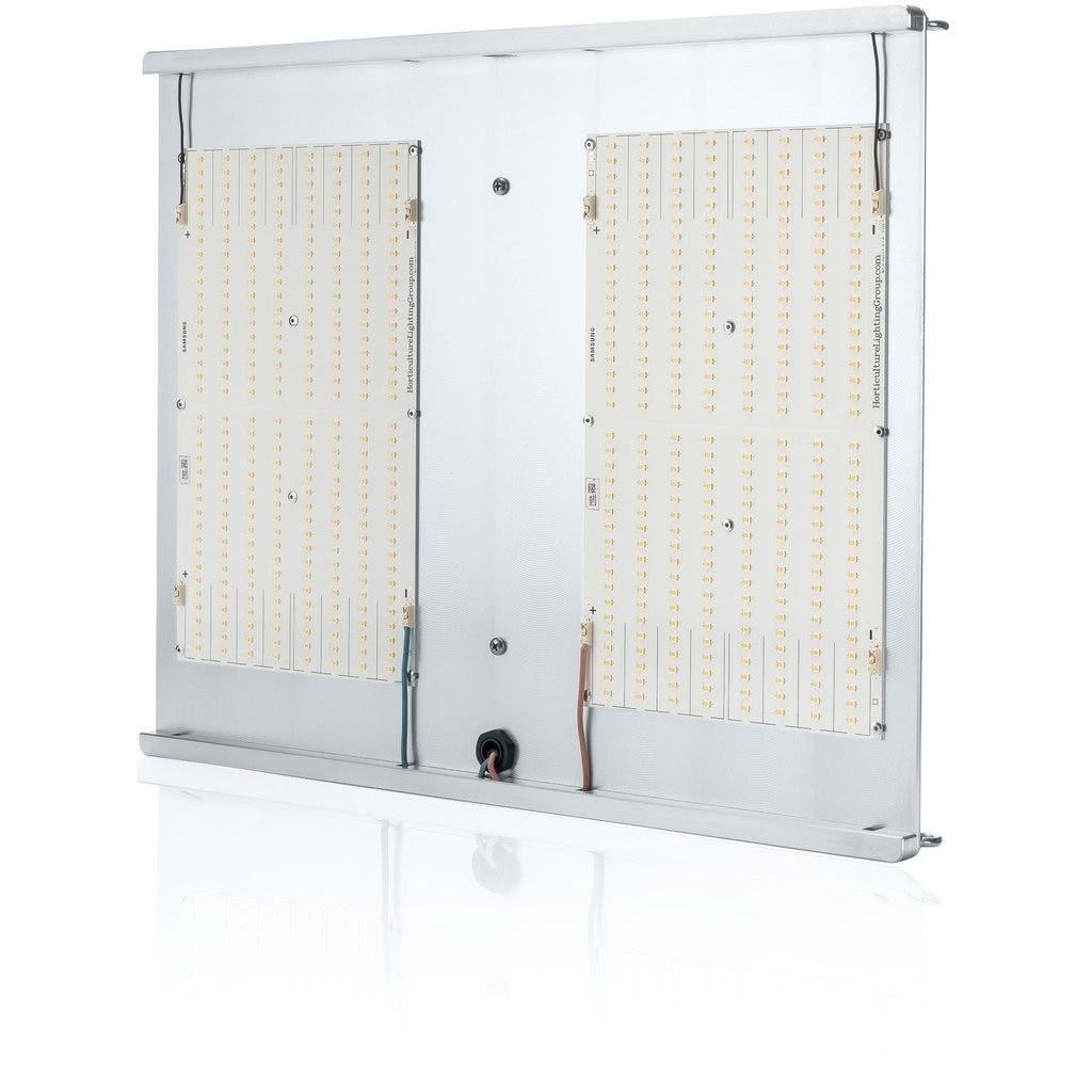 Horticulture Lighting Group HLG 300 V2 LED - 300W 2 Quantum Boards The Horticulture Lighting Group's HLG 300 V2 indoor horticulture LED Lamp is designed to power a 3'x3' space. Each lamp uses 2 of our custom designed high-efficiency white light Quantum Boards. With a total of 576 Top Bin Samsung LM301B LED's. Clear Anodized Aluminum. Comes in either 3000K or 4000K spectrums. TOP FEATURES High efficiency white light Quantum Boards White Light Full Spectrum for better results Reliable passive cooled design Better canopy light penetration with diffused light Ideal for veg and bloom Dimmable Power Supply included Comes with 120V plug SPECIFICATIONS Power 120-285 Watts Voltage Range 90-277 VAC LED 576 pcs Samsung 301B Flowering Footprint 2.5'x2.5' to 3'x3' Veg Footprint 4'X4' System Efficiency 147 Lm/W System PPF Efficacy 2.2 μmol/joule Total output 627 PPF Dimensions 18  x 20  x 3  Recommended Mounting Height 15-24 inches