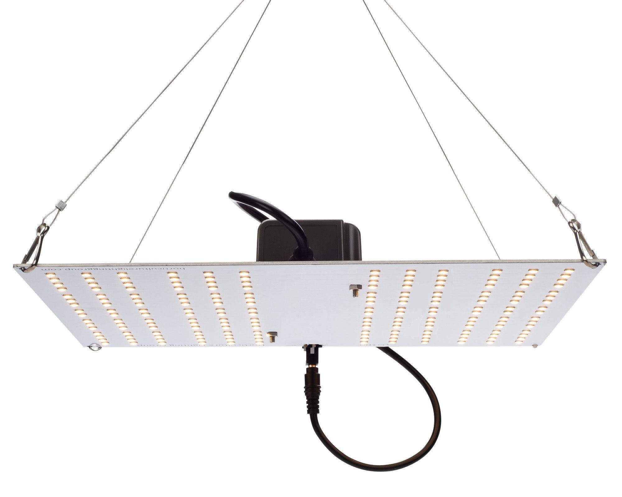 Horticulture Lighting Group HLG 100 V2 LED - 100W 1 Quantum Boards The HLG 100 V2 uses Horticulture Lighting Group's custom designed High efficiency white light Quantum Boards. With a total of 192 pcs Samsung LM301B LED's, this fixture produces 15,000+ Lumens with just 95 Watts of power. Equivalent to 220W T5 or 300W CFL output or 200W metal halide.lide. Comes in either 3000K or 4000K spectrums. TOP FEATURES High efficiency Samsung LM301B LED White Light Full Spectrum for better results Reliable passive cooled design Better canopy light penetration with diffused light Non-Dimmable Meanwell Power Supply included with NEMA 1-15p plug SPECIFICATIONS Power 95 Watts Voltage Range 90-264 VAC LED 192 pcs Samsung LM301B Flowering Footprint 2'X2' Veg Footprint 3'X3' System Efficiency 170 Lm/W System PPF Efficacy 2.45 μmol/joule Total output 235 PPF Dimensions 12.8  x 11