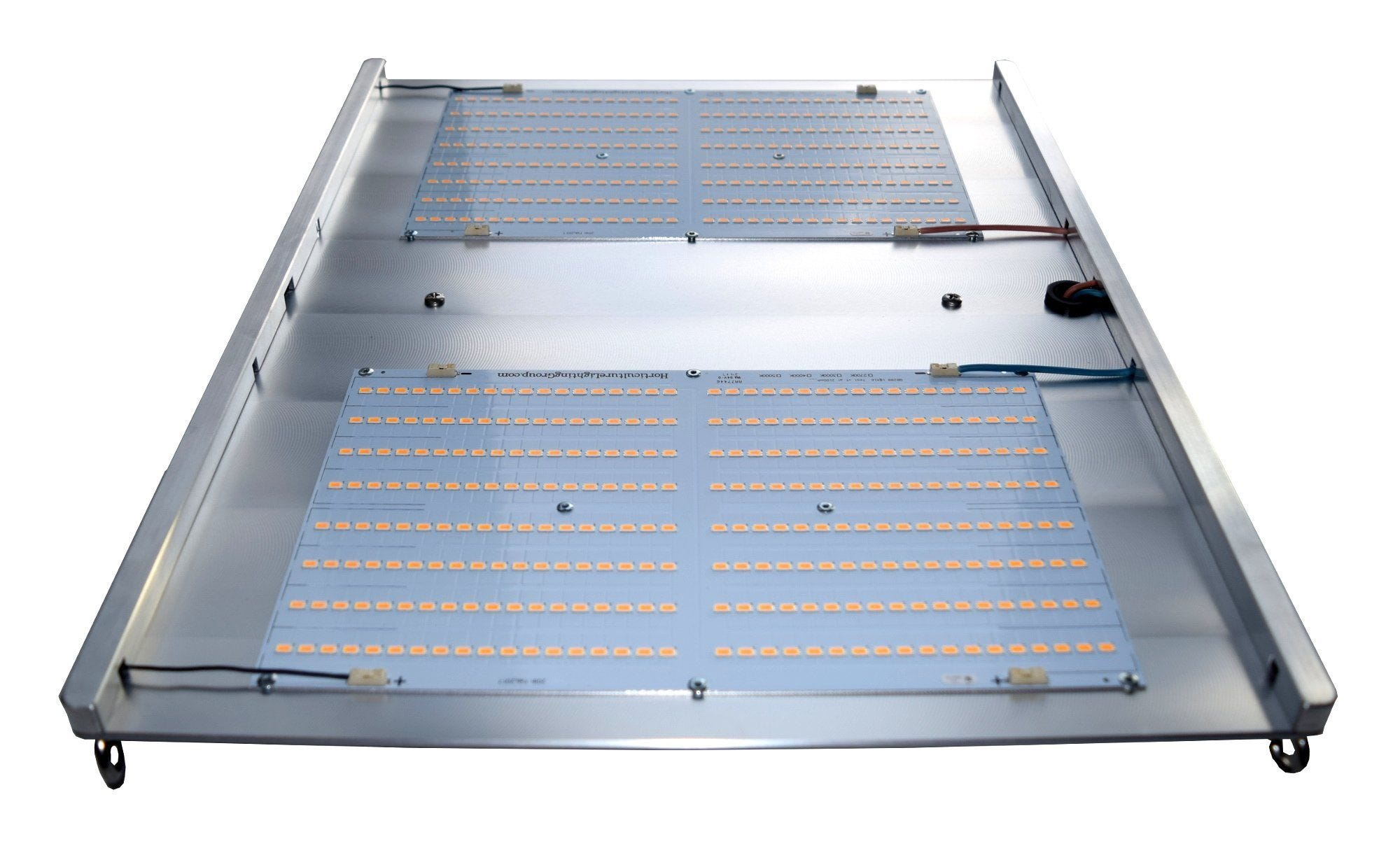 Horticulture Lighting Group HLG 300 LED - 300W 2 Quantum Boards Horticulture Lighting Group's HLG 300 indoor horticulture LED Lamp is designed to power a 3'x3' space . Each lamp uses 2 of our custom designed High-efficiency white light Quantum Boards. With a total of 576 Top Bin Samsung LM561C S6 LED's. Clear Anodized Aluminum.Comes in either 3000K or 4000K spectrums. TOP FEATURES High efficiency white light Quantum Boards White Light Full Spectrum for better results Reliable passive cooled design Better canopy light penetration with diffused light Ideal for veg and bloom Dimmable Power Supply included Comes with 120V plug SPECIFICATIONS Power 120-285 Watts Voltage Range 90-277 VAC LED 576 pcs Samsung 561C Flowering Footprint 2.5'x2.5' or 3'x3' Veg Footprint 4'X4' System Efficiency 147 Lm/W System PPF Efficacy 2.2 μmol/joule Total output 627 PPF Dimensions 18  x 20  x 3  Recommended Mounting Height 15-24 inches