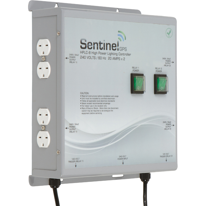 """Sentinel HPLC-8 Dual Trigger High Power Lighting Controller 8 Outlet 240 VOLTS / 20 AMPS / 60Hz • Run up to eight (8) lights at 240 volts, maximum 8000 watts • Removable rear access panel makes controller easy to wire to existing power system • Convenient front panel ON/OFF switch • ETL listed to UL 508 STD for commercial use • Eight (8) NEMA 6-15 outlets for ballasts • RoHS compliant for environmental friendliness • Dual 14' (4.5m) 120v trigger cables for easy setup and operation • The HPLC-8 controller is ETL listed in the USA and Canada, and RoHS compliant. • Features durable construction built to withstand high impacts and provide years of reliable performance. Input Power 240V AC / 60Hz 2+G Output Power 240V AC / 60Hz Storage Temperature: 32°F (0°C) to 135°F (57°C) Operating Temperature: 40°F (5°C) to 125°F (52°C) Maximum Amperage: 40 Amps Maximum Wattage: 8000 Watts Relay Coil Power: 120V AC / 60Hz Relay Trigger Cable (x2): NEMA 1-15, 14 feet (4.5m) Life Expectancy: 10 years+ RoHS Compliant: YES Dimensions: 11.3""""(288mm) x 13""""(330mm) x 4.3""""(108mm) Weight: 9.8 lbs.(4.42kg)"""