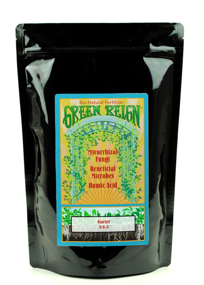 Green Reign Starter 5 LBS Green Reign Bio Natural Fertilizers for the home and garden. Green Reign Starter 5 LBS has 10 customized granular blends of all natural ingredients with mycorrhizae, beneficial microbes, and humic acid. Green Reign offers plant specific blends for all types of indoor and outdoor plants, shrubs and trees.