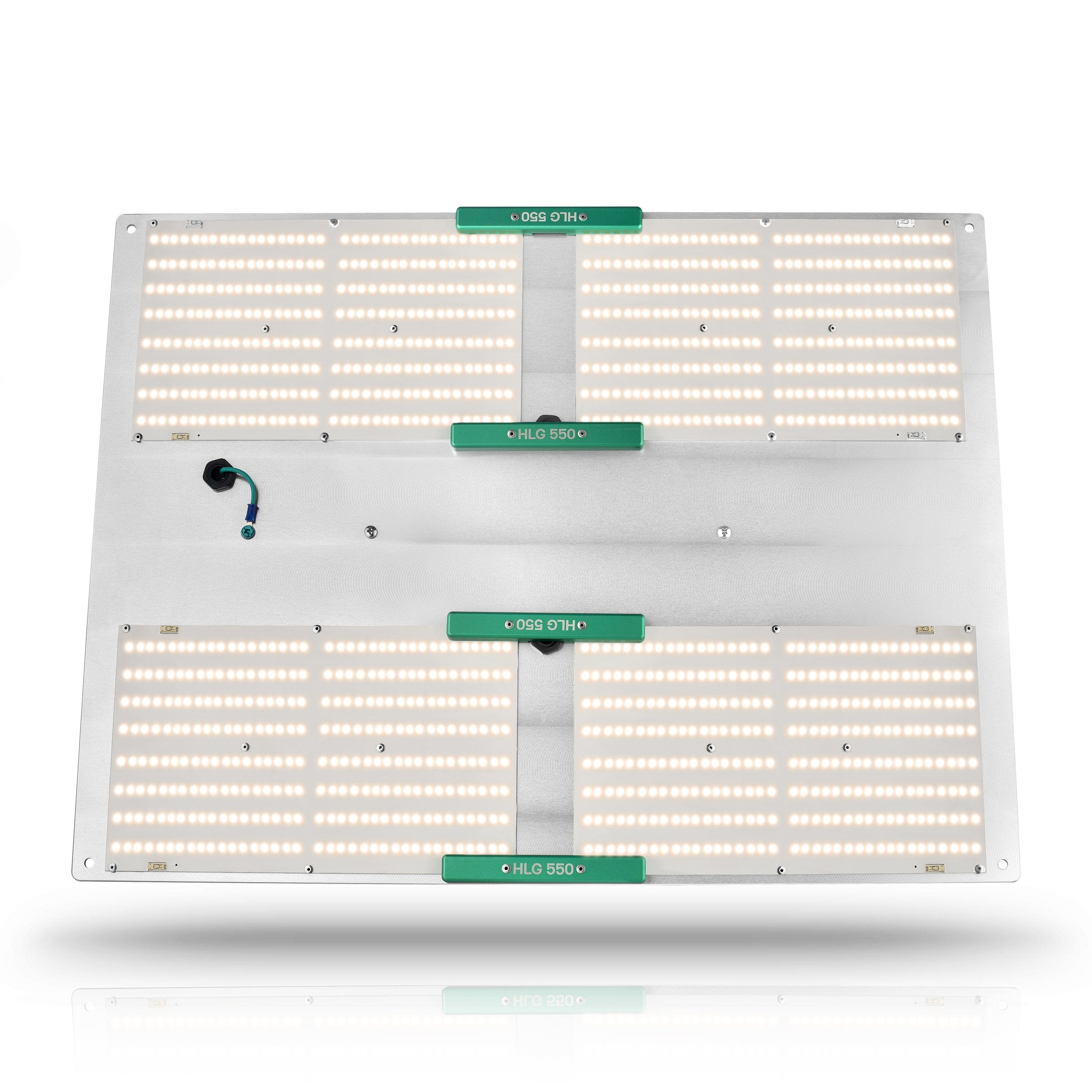 Horticulture Lighting Group HLG 550 V2 LED - 500W 4 Quantum Boards Horticulture Lighting Group 500W 4 Quantum Boards HLG 550 V2 - Ultra High Efficiency Horticulture Lighting Group's HLG550 V2 indoor horticulture LED Lamp is designed to replace a single ended 1000W HID. Each lamp uses 4 of our custom designed High efficiency white light Quantum Boards made by Samsung. 500 Watts with 1152 highest output Samsung LM301B LED. Comes in either 3000K (Flowering and Full Cycle) or 4000K (Veg only) spectrums. Top Features High efficiency white light Quantum Boards White Light Full Spectrum for better results Reliable passive cooled design Better canopy light penetration with diffused light Ideal for veg and bloom Dimmable Power Supply included 3 Year Warranty Specifications: Power250-500 Watts Voltage Range90-277 VAC LED1152 pcs Samsung 301B Flowering Footprint4.5'X4.5' or 4'X5' Veg Footprint6'X6' System Efficiency171 Lm/W System PPF Efficacy 2.5 μmol/joule Total output1178.05 PPF Dimensions26 X20 x3  Recommended Mounting Height 22-32 inches