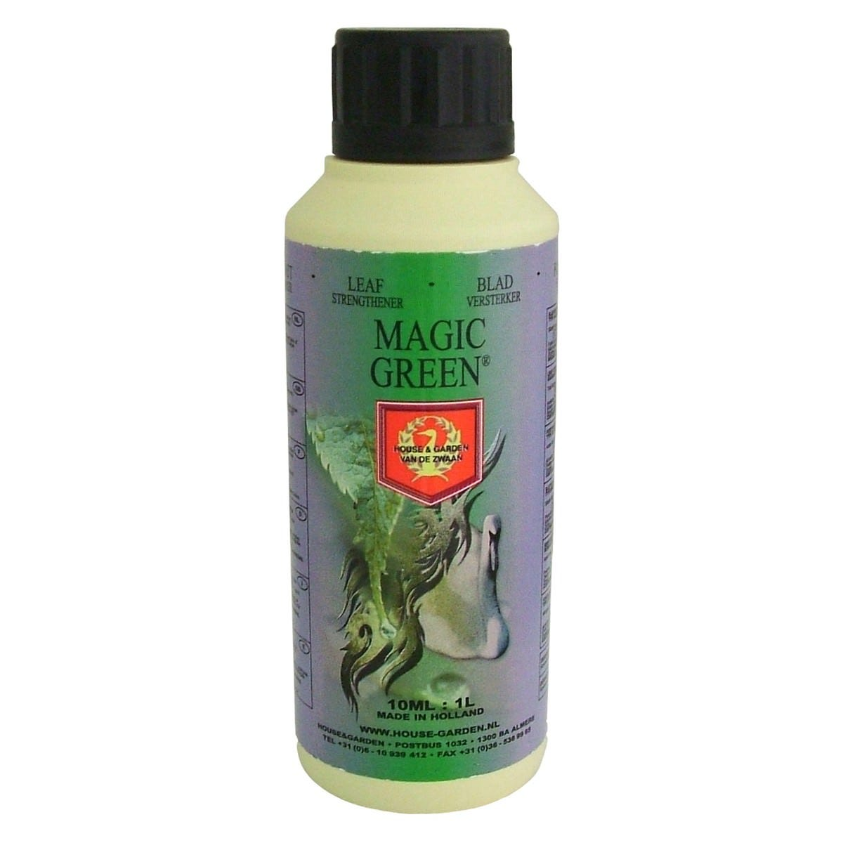 House & Garden - Magic Green Magic Green is a foliar spray used to increase vitality and ensure that the plants get what they need for a successful flowering period. Use on rooted sprouts, cuttings and mother plants up to once a week during the growth phase. Foliage will turn to a vibrant, dark green color and a waxy layer will form on the leafs. Derived From: Ammonium Nitrate, Nitric Acid, Potassium Oxide, and Phosphoric Acid. Ingredients Explained: This product will nourish your plants from the outside in, helping to green-up plants in all phases of growth. Magic Green helps provide plants with extra vitality, helping to prepare them for a successful flowering period. House & Garden maintains their own nutrient manufacturing facility as well as their own laboratories where they continually test each batch of fertilizer they produce. This ensures that gardeners employing House & Garden receive high quality, consistent products. Application: Apply 1-2 ml per liter of spraying solution, 1-2 times per weeks just after the lights have been switched off.