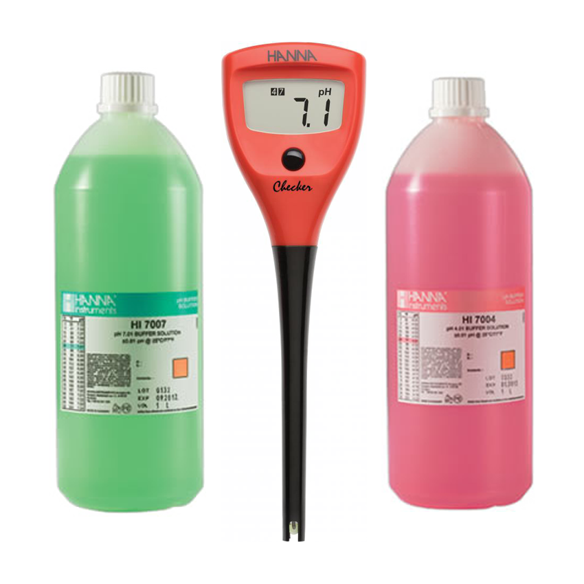 Photograph of Hanna pH Checker Complete Starter Kit with 4 + 7 Calibration Solution