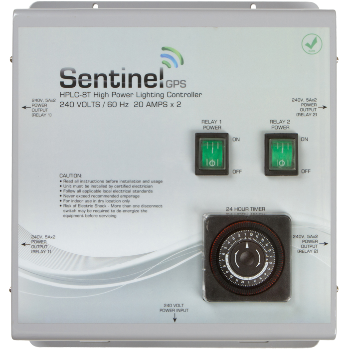 """Sentinel HPLC-8T High Power Lighting Controller 8 Outlet with Integrated Timer *DISCONTINUED* Sorry for the inconvenience, this item has been discontinued and is no longer available. 240 VOLTS / 20 AMPS x 2 / 60Hz • Run up to eight (8) lights at 240 volts, maximum 8000 watts • Removable rear access panel makes controller easy to wire to existing power system • Convenient front panel ON/OFF switch • ETL listed to UL 508 STD for commercial use • Eight (8) NEMA 6-15 outlets for ballasts • RoHS compliant for environmental friendliness • The HPLC-8T controller is ETL listed in the USA and Canada, and RoHS compliant. • Features durable construction built to withstand high impacts and provide years of reliable performance. • Integrated 24 hour timer for easy setup and operation.  Input Power 240V AC / 60Hz 3+G Output Power 240V AC / 60Hz Storage Temperature: 32°F (0°C) to 135°F (57°C) Operating Temperature: 40°F (5°C) to 125°F (52°C) Maximum Amperage: 40 Amps Maximum Wattage: 8000 Watts Relay Coil Power: 120V AC / 60Hz Relay Timer: 24 hour / 15 minute increments Life Expectancy: 10 years+ RoHS Compliant: YES Dimensions: 11.3""""(288mm) x 13""""(330mm) x 4.4"""" (112mm) Weight: 8.6 lbs.(3.88kg)"""