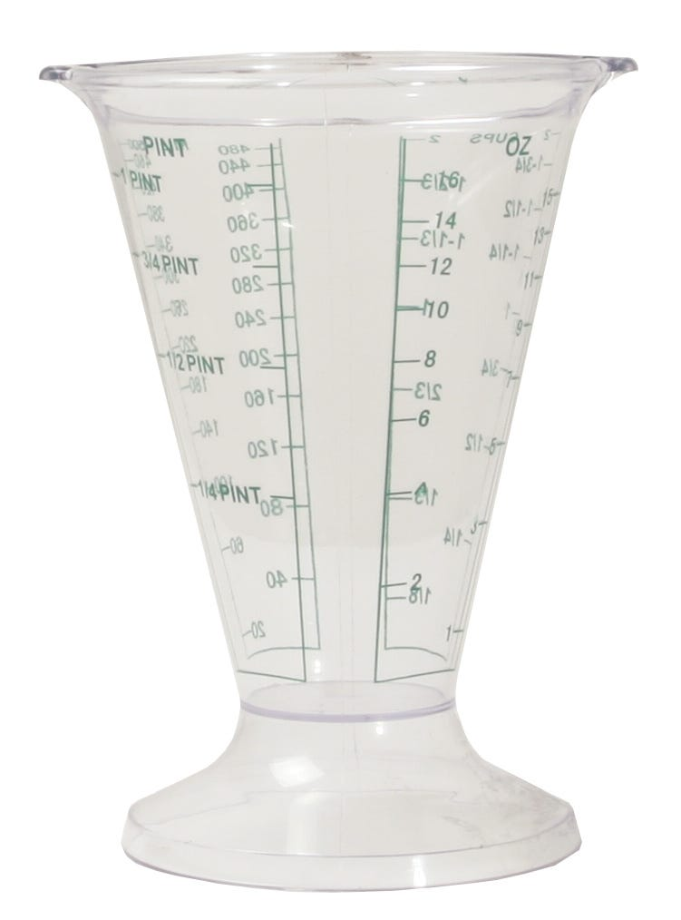 Hydrofarm Measuring Beaker With so many choices in measuring instruments on the market, how do you choose? Select the item that gives you the most for your money, in an all-in-one, long-lasting product. Hydrofarm's heavy duty measuring beaker offers easy-to-read, permanent print markings delineating cups, milliliters, pints, and ounces, all around a sturdy plastic container. Two pour spouts make this beaker the most accessible one on the market. You'll never have to twist your wrist or guesstimate again because you can't read the other side - simply turn the beaker facing you to the desired measurement for your media or ingredients, then fill and pour. Use the spout on the opposite side for a second round of pouring as needed. Indoor gardening enthusiasts - both left- and right-handed - will appreciate the convenience of this beaker. The beaker's wide, thick base ensures against tip over, and its dishwasher-safe construction means easy and quick cleanup. Available in a case quantity of 12, Hydrofarm beakers allow you to stock your shelves - or just stock up - to get your fill. Features Sturdy plastic construction Permanent green markings Cups, milliliters, pints, and ounce markings Wide thick base Two pour spouts Dishwasher safe material Custom box for attractive display