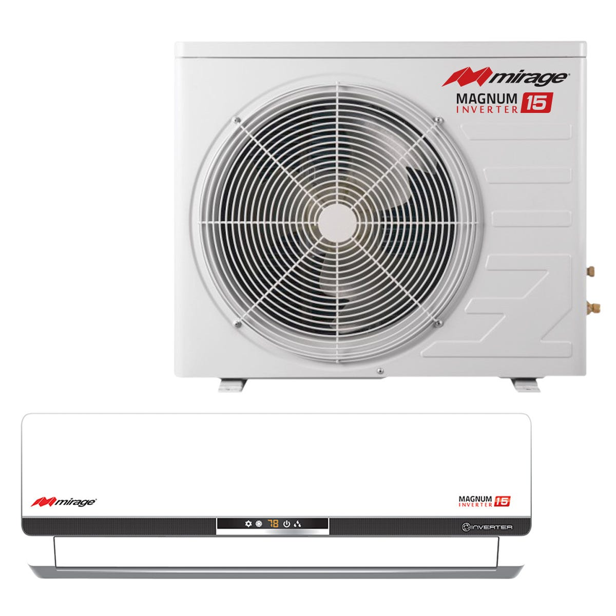 Mirage 15 SEER 12,000 BTU Mini Split Air Conditioner The Mirage Magnum 15 SEER represents the state-of-the-art in split air conditioner systems. These units have proven themselves throughout Europe, Africa, Australia, Asia and the Middle East for many years, and now we're proud to offer them to you. They offer many features that make them exceedingly well-suited for horticultural climate control. These Mirage Magnum 15 SEER units having heating and cooling functions. The Magnum 15's inverter technology ensures lower operation costs, longer compressor life, and more effective room cooling than A/C systems of comparable price and capacity. The speed of its unique inverter compressor (double that of a conventional compressor), provides a much faster transition to your desired room temperature. The Magnum 15 also features a special hydrophobic coating on the coils which prevents fungal and calcium buildup, as well as rifled copper coil lines which bring superior cooling efficiency. Consider the additional features such as automatic speed, multiface coil technology for more efficient heat exchange, internal monitoring system, remote control, an efficiency rating of 15 SEER (Season Energy Efficiency Ratio), and up to 40% savings on electricity costs over legacy A/C systems of comparable BTU specs, and it's easy to see why Mirage quality is no illusion! Mirage Mini Split Air Conditioner: 1 year warranty on parts / 5 year compressor (void if not installed by HVAC professional) Use alone on a 15A circuit breaker Outdoor unit ambient temperature operating range: 10 F to 115 F 12, 18 & 24 BTU Mirage Split A/Cs have cooling and heating capability Includes 25' lineset Cooling temperature range: 5°F to 115°F Heating temperature range: -2°F to 75°F.