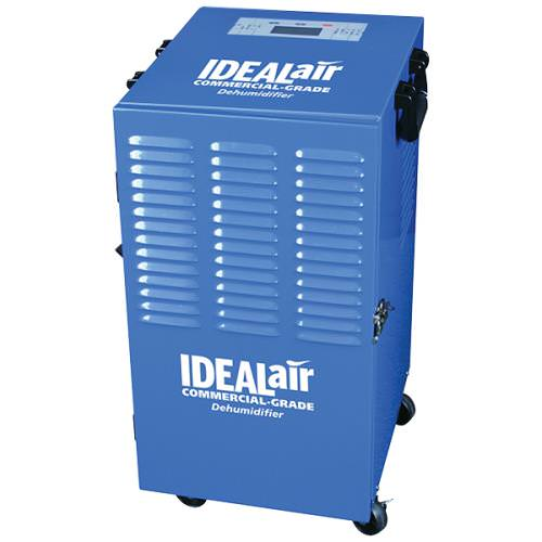 Ideal-Air Commercial Grade Dehumidifier Up To 100 Pint *DISCONTINUED* This item has been discontinued, Please try our selection of Dehumidifiers for an alternative. Automatic restart allows unit to be used with humidity controllers. Equipped with an easy to use digital display panel with temperature and humidity readings, removable washable filter, 2 speed fan motor, heavy duty powder coated metal casing for long life, and a heavy duty compressor. Built-in defrost system is designed for operation down to 45 F. Allow units to set upright on their feet for 3 hours prior to use. One year warranty. Ideal Air 100 Pint Dehumidifier Specifications: Temp. Range: 45 F- 105 F H2O removal:(24hrs) 100 pints (80 F, 60%) Power: 9.4 Amps/700Watts Supply Voltage: 115V-1 Phase-60Hz Refrigerant: R410A Ideal Air 100 Pint Dehumidifiers Instructions PDF