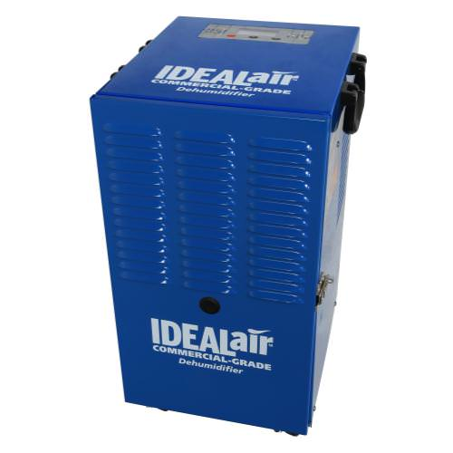 Ideal-Air Commercial Grade Dehumidifier Up To 60 Pint *DISCONTINUED* This item has been discontinued, Please try our selection of Dehumidifiers for an alternative. Automatic restart allows unit to be used with humidity controllers. Equipped with an easy to use digital display panel with temperature and humidity readings, removable washable filter, 2 speed fan motor, heavy duty powder coated metal casing for long life, and a heavy duty compressor. Built-in defrost system is designed for operation down to 45 F. Allow units to set upright on their feet for 3 hours prior to use. One year warranty. If you'd like a pump to push out the accumulated drain water, we recommend a condensate pump. Ideal Air 60 Pint Dehumidifier Specifications: Temp. Range: 45 F- 105 F H2O removal: (24hrs) 60 pints (80 F, 60%) Power: 6.6 Amps/700Watts Supply Voltage: 115V-1 Phase-60Hz Refrigerant: R410A