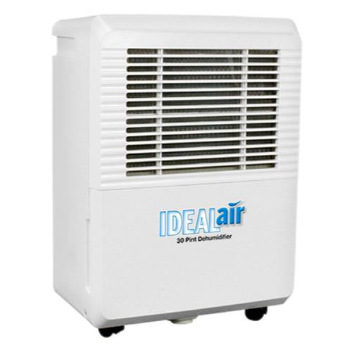 Ideal-Air Dehumidifier 50 Pint - Up to 80 Pints Per Day The Ideal-Air Dehumidifiers are now rated at AHAM standards (80°F, 60% Relative Humidity). There is no change to the unit itself, only to the temperature and humidity at which the reading is being taken from. Previously they were rated at a higher temperature and humidity level based on hydroponic industry standard usage (86°F, 80% Relative Humidity). They will now be rated at AHAM standards based on the recent US Department of Energy ruling. Rated at 120 pints per day at 86°F/80% RH, now rated 60 Pint @ 80°F, 60% RH Quick maintenance with easy filter access that is removable and washable. Low temperature defrosting. Easy to move with built-in handles and wheels. Features a LED display panel. Removable water tank with an automatic shutoff when the reservoir is full. Internal condensate pump for easy water disposal. Can also be plumbed for permanent drainage. Tank reservoir capacity is 10 liters or 21 pints. 7 Amps/680 W/271 CFM. 115 V. Easy-to-use digital display panel with humidity readings. 2 gallon reservoir. Removable, washable filter. 3-speed fan motor. Durable easy-to-clean surface. Heavy-duty compressor. The Ideal Air dehumidifier has a built-in defrost system that is designed for operation down to 45°F. Automatic shut-off when reservoir tank is full. If you'd like a pump to push out the accumulated drain water, we recommend a condensate pump. Specifications: Auto restart function Compact and streamline design LED Display Low temperature defrosting Removable filter Removable water tank Can be plumbed for permanent drainage Up to 30 pints per day 1 year warranty Supply voltage: 115 Volt - 60 Hz Unit Weight: 32 lbs. Power: 4.0 Amps/420 Watts Refrigerant: R134A Dimensions: 10 D x 14.5 W x 20.5 H Ideal-Air Dehumidifier 30 Pint Instruction PDFEasy-to-use digital display panel with humidity readings. 2 gallon reservoir. Removable, washable filter. 3-speed fan motor. Durable easy-to-clean surface. Heavy-duty co
