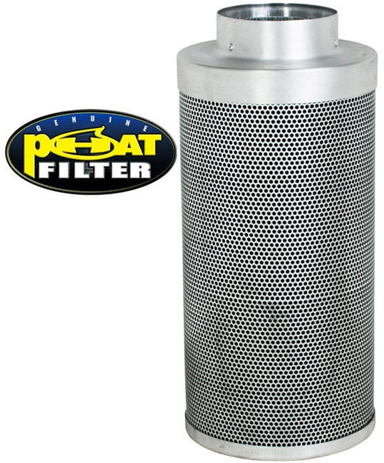 Phat Filter 20 inchx6 inch, 450 CFM The Phat Filter is a professional grade, world renowned greenhouse filter that will remove the nastiest odors from your growing area. Phat filters use a very special charcoal carbon that comes from a source of pre-Cambrian ore, or some of the oldest carbon found on earth. This carbon dates back 250 million years and is the reason our Phat Filters are so effective! The special carbon is mined from deep within the earth, activated with steam at very high temperatures and shipped to us for use. No hazardous compounds ever come into contact during the activation process. Keeping our planet green and clean is what we are all about! Genuine Phat Filters offer you the quality you can trust through non-pelletized carbon, using no glues or binders thereby increasing the effective filtering capability of Genuine Phat Filters. Featuring RC 412 Charcoal Includes Prefilter Given CFM rating is for scrubbing. Divide by 2 to get exhaust filter CFM Characteristics of Phat Filters: * Highly effective, Low density virgin carbon * Carbon tightly-packed for increased porosity * Greater & more even air movement provided by internal, conical filter base * Manufactured so that no air blows by the filter without being filtered * Outer aluminum mesh provides 53% open area allowing increased air flow * Genuine Phat Filters are immediately sealed after manufacture to help retain moisture, optimize presentation and improve life expectancy