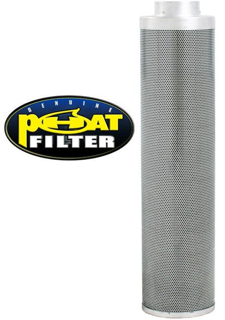 Phat Filter 39 inch x 6 inch, 800 CFM The Phat Filter is a professional grade, world renowned greenhouse filter that will remove the nastiest odors from your growing area. Phat filters use a very special charcoal carbon that comes from a source of pre-Cambrian ore, or some of the oldest carbon found on earth. This carbon dates back 250 million years and is the reason our Phat Filters are so effective! The special carbon is mined from deep within the earth, activated with steam at very high temperatures and shipped to us for use. No hazardous compounds ever come into contact during the activation process. Keeping our planet green and clean is what we are all about! Genuine Phat Filters offer you the quality you can trust through non-pelletized carbon, using no glues or binders thereby increasing the effective filtering capability of Genuine Phat Filters. Featuring RC 412 Charcoal Includes Prefilter Given CFM rating is for scrubbing. Divide by 2 to get exhaust filter CFM Characteristics of Phat Filters: * Highly effective, Low density virgin carbon * Carbon tightly-packed for increased porosity * Greater & more even air movement provided by internal, conical filter base * Manufactured so that no air blows by the filter without being filtered * Outer aluminum mesh provides 53% open area allowing increased air flow * Genuine Phat Filters are immediately sealed after manufacture to help retain moisture, optimize presentation and improve life expectancy  To view Phat Filter's web site in Spanish, clickHERE.