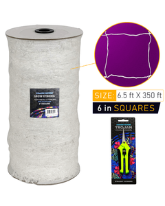 Common Culture Soft Mesh Nylon Trellis Netting Bulk Roll 6.5 ft x 350 ft w/ 6 in Squares + Trojan 2 Inch Straight Scissors