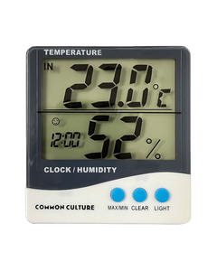 Common Culture Thermometer & Hygrometer with Large Display, Inside & Outside Function, Memory