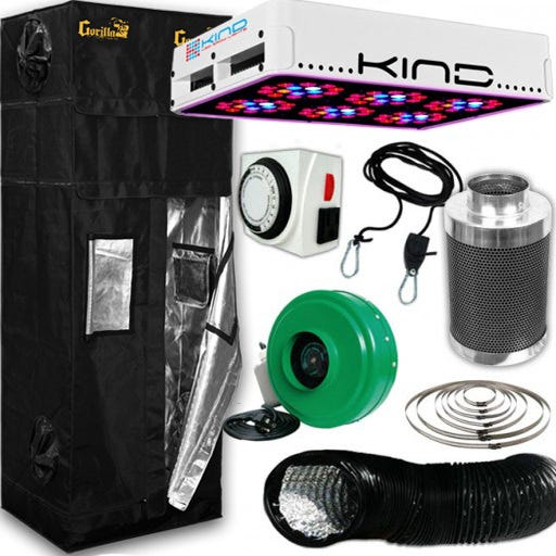 Kind L300 LED Gorilla Grow Room Package - 2 x 2.5 Package Contents: - Kind LED K3 L300 Grow Light - Gorilla Grow Tent – 2ft X 2.5ft - Titan Controls Apollo 8 -- 24 Hour Dual Timer - Active Air 4 inch In-Line Fan 165 CFM - Growers House Carbon Filter 6  x 16  400 CFM - Grow Crew 1/8  Ratchet Light Hanger (Pair) - Black Lightproof Ducting w/Clamps DETAILS: Kind LED K3 L300 Grow Light The K3 series LED grow lights are comprised of high powered 3 Watt Light Emitting Diodes featuring a proprietary intensified spectrum designed for flowering large yields. This revolutionary series of LED grow lights will produce the biggest and best yields, while consuming approximately half the electricity and producing virtually no heat. Your Kind LED Grow Light will cultivate record breaking yields, both in quantity and quality, while running quieter, cooler, and more efficiently than any other grow light. Guaranteed. A Little Kindness Goes A Long Way.  Kind LED grow lights come with a proprietary spectrum optimized to yield quality and quantity out of your plants. The spectrum is focused on the photosynthetic peaks for maximum efficiency, leaving no light wasted as in traditional HPS and MH lights. Kind LED grow lights in the 300, 450, and 600 models are great to use alongside other lighting technology such as HPS and MH, or use them as your sole light source.  Kind K3 L300 LED Grow Light Specifications: HPS Equivalent: 300w Actual Power Draw: 220w # of LED Diodes: 90 -- Each diode 3w # of Spectra Bands: 12 Bulb Life: 50,000 hours Recommended Footprint: 3' x 3.5' Kind K3 L300 LED Grow Light Features: Kindest Yields - 700 mA Driving Current Creates Up To 200% More Light Coverage Kindest Spectrum - Proprietary 12 Band Complete 3 Watt  Perfect Spectrum  Kindest Intensity - Secondary Optical Lens Enhances Diode Efficiency and Magnifies PAR (photosynthetically active radiation) Kindest Quality - Extra Large Heat Sinks, Quiet Fans, Precision Drivers, Superior Kindest Coverage – KIND LED lights have the largest reflectors and greatest