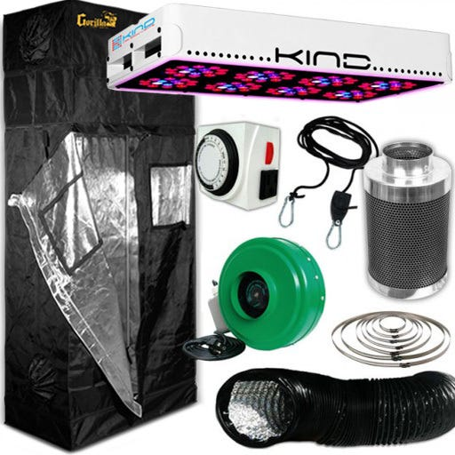 Kind L450 LED Gorilla Grow Room Package - 2 x 4 Package Contents: - Kind LED K3 L450 Grow Light - Gorilla Grow Tent – 2ft X 4ft - Titan Controls Apollo 8 -- 24 Hour Dual Timer - Active Air 4 inch In-Line Fan 165 CFM - Growers House Carbon Filter 4  x 12  200 CFM - Grow Crew 1/8  Ratchet Light Hanger (Pair) - Black Lightproof Ducting w/Clamps DETAILS: Kind LED K3 L450 Grow Light The K3 series LED grow lights are comprised of high powered 3 Watt Light Emitting Diodes featuring a proprietary intensified spectrum designed for flowering large yields. This revolutionary series of LED grow lights will produce the biggest and best yields, while consuming approximately half the electricity and producing virtually no heat. Your Kind LED Grow Light will cultivate record breaking yields, both in quantity and quality, while running quieter, cooler, and more efficiently than any other grow light. Guaranteed. A Little Kindness Goes A Long Way.  Kind LED grow lights come with a proprietary spectrum optimized to yield quality and quantity out of your plants. The spectrum is focused on the photosynthetic peaks for maximum efficiency, leaving no light wasted as in traditional HPS and MH lights. Kind LED grow lights in the 300, 450, and 600 models are great to use alongside other lighting technology such as HPS and MH, or use them as your sole light source.  Kind K3 L450 LED Grow Light Specifications: HPS Equivalent: 450w Actual Power Draw: 270w # of LED Diodes: 120 -- Each diode 3w # of Spectra Bands: 12 Bulb Life: 50,000 hours Recommended Footprint: 3' x 4' Kind K3 L450 LED Grow Light Features: Kindest Yields - 700 mA Driving Current Creates Up To 200% More Light Coverage Kindest Spectrum - Proprietary 12 Band Complete 3 Watt  Perfect Spectrum  Kindest Intensity - Secondary Optical Lens Enhances Diode Efficiency and Magnifies PAR (photosynthetically active radiation) Kindest Quality - Extra Large Heat Sinks, Quiet Fans, Precision Drivers, Superior Kindest Coverage – KIND LED lights have the largest reflectors and greatest pl