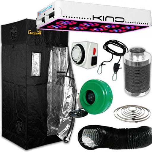 Kind LED L450 Gorilla Grow Room Package - 3 X 3 Package Contents: - Kind LED K3 L450 Grow Light - Gorilla Grow Tent – 3ft X 3ft - Titan Controls Apollo 8 -- 24 Hour Dual Timer - Active Air 4 inch In-Line Fan 165 CFM - Growers House Carbon Filter 6  x 16  400 CFM - Grow Crew 1/8  Ratchet Light Hanger (Pair) - Black Lightproof Ducting w/Clamps DETAILS: Kind LED K3 L450 Grow Light The K3 series LED grow lights are comprised of high powered 3 Watt Light Emitting Diodes featuring a proprietary intensified spectrum designed for flowering large yields. This revolutionary series of LED grow lights will produce the biggest and best yields, while consuming approximately half the electricity and producing virtually no heat. Your Kind LED Grow Light will cultivate record breaking yields, both in quantity and quality, while running quieter, cooler, and more efficiently than any other grow light. Guaranteed. A Little Kindness Goes A Long Way.  Kind LED grow lights come with a proprietary spectrum optimized to yield quality and quantity out of your plants. The spectrum is focused on the photosynthetic peaks for maximum efficiency, leaving no light wasted as in traditional HPS and MH lights. Kind LED grow lights in the 300, 450, and 600 models are great to use alongside other lighting technology such as HPS and MH, or use them as your sole light source.  Kind K3 L450 LED Grow Light Specifications: HPS Equivalent: 450w Actual Power Draw: 270w # of LED Diodes: 120 -- Each diode 3w # of Spectra Bands: 12 Bulb Life: 50,000 hours Recommended Footprint: 3' x 4' Kind K3 L450 LED Grow Light Features: Kindest Yields - 700 mA Driving Current Creates Up To 200% More Light Coverage Kindest Spectrum - Proprietary 12 Band Complete 3 Watt  Perfect Spectrum  Kindest Intensity - Secondary Optical Lens Enhances Diode Efficiency and Magnifies PAR (photosynthetically active radiation) Kindest Quality - Extra Large Heat Sinks, Quiet Fans, Precision Drivers, Superior Kindest Coverage – KIND LED lights have the largest reflectors and greatest pl