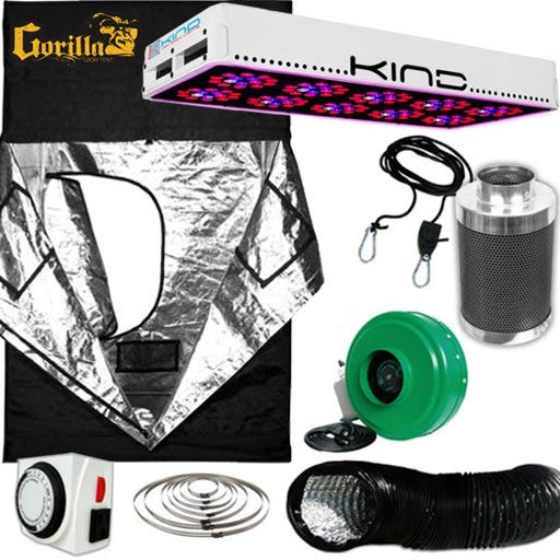 Kind LED L600 Gorilla Grow Room Package - 4 X 4 Nutrient Starter Kits Package Contents: - Kind LED K3 L600 Grow Light - Gorilla Grow Tent – 4ft X 4ft - Growers House Carbon Filter 4  x 12  200 CFM - Active Air 4 inch In-Line Fan 165 CFM - Titan Controls Apollo 8 -- 24 Hour Dual Timer - Grow Crew 1/8  Ratchet Light Hanger (Pair) - Black Lightproof Ducting w/Clamps DETAILS: Kind LED K3 L600 Grow Light The K3 series LED grow lights are comprised of high powered 3 Watt Light Emitting Diodes featuring a proprietary intensified spectrum designed for flowering large yields. This revolutionary series of LED grow lights will produce the biggest and best yields, while consuming approximately half the electricity and producing virtually no heat. Your Kind LED Grow Light will cultivate record breaking yields, both in quantity and quality, while running quieter, cooler, and more efficiently than any other grow light. Guaranteed. A Little Kindness Goes A Long Way.  Kind LED grow lights come with a proprietary spectrum optimized to yield quality and quantity out of your plants. The spectrum is focused on the photosynthetic peaks for maximum efficiency, leaving no light wasted as in traditional HPS and MH lights. Kind LED grow lights in the 300, 450, and 600 models are great to use alongside other lighting technology such as HPS and MH, or use them as your sole light source.  Kind K3 L600 LED Grow Light Specifications: HPS Equivalent: 600w Actual Power Draw: 320w # of LED Diodes: 150 -- Each diode 3w # of Spectra Bands: 12 Bulb Life: 50,000 hours Recommended Footprint: 3' x 4.5' Kind K3 L600 LED Grow Light Features: Kindest Yields - 700 mA Driving Current Creates Up To 200% More Light Coverage Kindest Spectrum - Proprietary 12 Band Complete 3 Watt  Perfect Spectrum  Kindest Intensity - Secondary Optical Lens Enhances Diode Efficiency and Magnifies PAR (photosynthetically active radiation) Kindest Quality - Extra Large Heat Sinks, Quiet Fans, Precision Drivers, Superior Kindest Coverage – KIND LED lights have the largest re