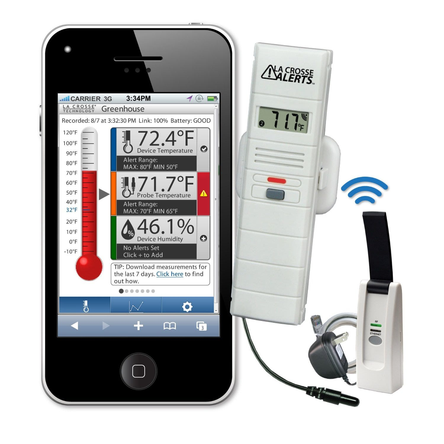 La Crosse Temperature & Humidity Wireless Alert System - Text & Email Function - New App-Based Model: 926-25101-WGB Remotely monitor sensors 24/7 using a web browser*. Perfect for...Backyard temperature and humidity; Plants, gardens and greenhouses; Refrigerators, freezers; Food storage; Sensitive electronics; Outdoor pets and livestock; and so much more Temperature and humidity measures: (1) Ambient air temperature; (2) Ambient humidity; (3) Probe temperature Temperature range: -40°F to 140°F Includes: sensor, internet gateway with LAN cable & AC adapter, DRY probe Requires 2 AAA Alkaline batteries (not included) Protect people, pets, plants and valuables from dangerous temperatures and humidity with an affordable, easy to use remote monitor and alert system. La Crosse Alerts™ Temperature and Humidity Monitor by La Crosse Technology® sends custom text and e-mail alerts to notify you when the temperature or humidity exceeds your desired range, when the battery is low, or when the connection is lost. Low temperature alerts can help you prevent damage from frozen pipes, freezer burn, and protect sensitive plants and animals from harsh conditions. High alerts can help you prevent mold and mildew, prevent food spoilage, and protect plants, animals and electronics from overheating. La Crosse Alerts is your home's homepage: Use the online control panel for 24/7 monitoring anywhere with Internet. View current readings or a 7 day history graph. Change alert settings anytime or download the measurement log. You can also view current air temperature, relative humidity and probe temperature readings on the sensor's LCD. Monitor the temperature of wet or dry environments with a separate probe. Add up to 5 sensors for other areas within a 200 Ft wireless range. There are a wide variety of applications. Monitor: Backyard temperature and humidity, plants and gardens, pets or livestock, refrigerators and freezers, food storage, terrariums, books, documents and photos, basements, ga