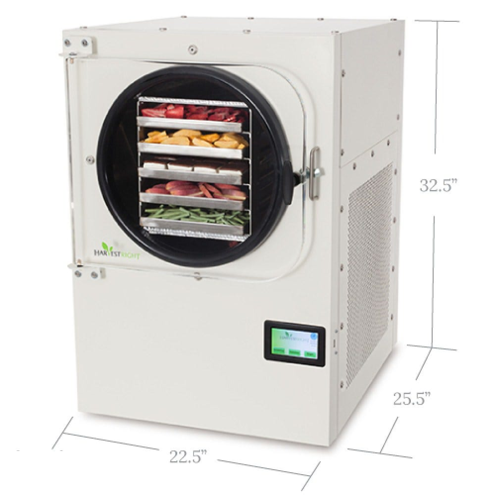 """Harvest Right Freeze Dryer - Large Overview Patented technology preserves the taste, nutrition, and texture of nearly any food for up to 25 years. Perfect for freeze drying fruits, vegetables, meats, dairy products, meals, desserts, and more. Features Freeze dry 2,500 pounds of fresh product per year (12-16 pounds per batch). In a year's time, you can freeze dry 546 gallons of food. Easy to use. Just press start and the freeze dryer will beep when finished. Warranty 1 Year limited warranty Dimensions Overall product dimensions: 22.5"""" W x 25.5"""" D x 32.5"""" H Perfect for a countertop, cart or table. Power 110 Volt power source (NEMA 5-20). Shipping Info The large freeze dryer ships in one package with a total weight of 253 lbs (274 lbs for Stainless Steel). Item will be delivered to physical addresses, no PO boxes, they just don't fit. One Freeze Dryer Package: 29""""W x 38""""D x 48""""H Maintenance Simply filter and replace oil. Takes one or two minutes. The Freeze Drying Process (Lyophilization) Products (usually food) are placed in the dryer where they are frozen to an ultra cold temperature. Once the product is frozen, the freeze dryer creates a powerful vacuum around the product. Then, as the food is slightly warmed, the ice transitions into vapor and evaporates (sublimation). The freeze-dried product is then sealed in moisture and oxygen-proof packaging (Mylar bags, mason jars, or cans) along with an oxygen absorber to ensure freshness until opened."""