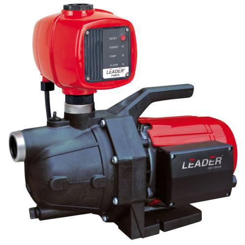 """Leader Ecotronic 110 1/2 HP Jet Pump - 960 GPH Water Pump Leader Ecotronic pumps are highly reliable electronic booster sets for supplying water for domestic applications. Leader Ecotronic pumps are equipped with an electronic safety device that protects the pump from dry-running. Leader Ecotronic water pumps have a built-in non return valve. Designed to automatically start and stop the pump when taps are open or closed. Automatic and manual reset. Leader Ecotronic pumps give a constant pressure and flow rate so they are excellent for irrigation systems. Anti-corrosive and rust-proof materials. Motor with thermic overload protection. Leader Ecotronic Water Pumps Applications: Leader Ecotronic 110, 120 & 130 ECOJET self priming single impeller pump fitted with the Hydrotronic pump control system. Ecotronic 230, 240 & 250 Ecoplus self priming multistage pump (with 2,3 or 4 impellers) fitted with the Hydrotronic pump control system to supply water for systems including: Pressure Boosting Residential Homes Farming Applications Residential Irrigation Garden Irrigation Drip/Low Flow Hydroponics Rain Water Harvesting Water Supply from Shallow Wells F version supplied with 5"""" filter housing and filter cartridge Leader Ecotronic Water Pumps Technical Specifications: Operating Range: Ecotronic 110 to 130 From 1 to 21gpm with a head up to 164ft ( 71 psi ) & Ecotronic 230 to 250 From 1 to 27gpm with a head up to 197ft ( 85 psi ) Liquid Temp. Range: 32 to 104 F Maximum Operating Pressure: 116 psi Installation: Fixed or portable in a horizontal position Horsepower: 1"""