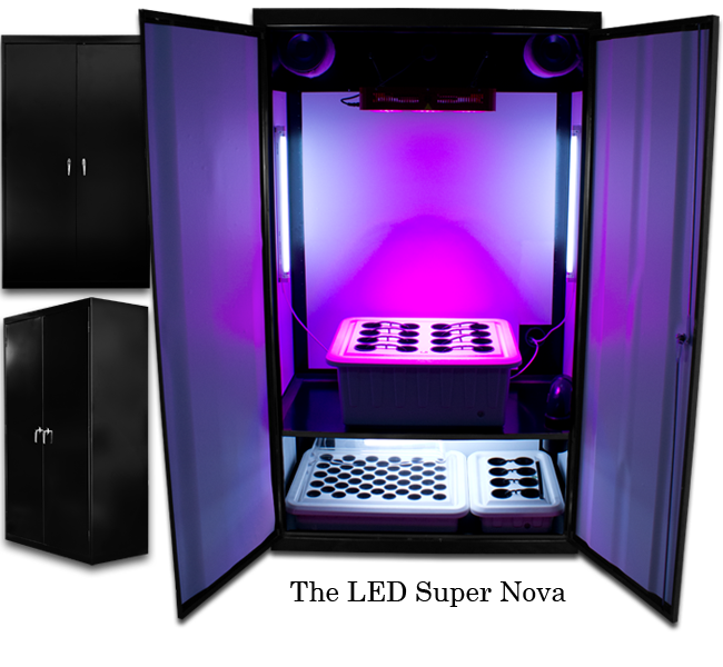 SuperCloset LED SuperNova - LED Grow Cabinets The Super Nova is a full-cycle cabinet, allowing you to Germinate, Clone, Vegetate, and Flower at the same time, drastically reducing time till harvest. The SuperCloset Super Nova is perfect for all your growing needs. The Cloning Chamber This area holds your 50-Site SuperCloner, which enables effective Germination, Cloning, and Early Vegetative Growth, as well as your exclusive Mamaponics system, allowing you to grow stocky, clone bearing mothers. Chamber houses two 24w T-5 fluorescent bulbs, and at 6500k it is perfect for your new plants. Adjustable shelf enables easy height manipulation to suit yours and your plants needs. The Vegetative/Flowering Chamber The Flowering Chamber holds up to 16 plants, and is ideal for personal use or the small commercial grower! Utilizing our patented SuperPonics watering system, this reservoir can hold up to 15 gallons of nutrient rich water and is incredibly easy to maintain. 12 Bandwidth Full Spectrum 3 Watt Kind LED Grow Light K3 Series L600 on Adjustable Yo-Yo's for Full Light Control and Maximum Penetration System Accommodates Soil. Reinforced Lock and Key. CO2 Automation & Regulation Kit Available at a nominal extra fee. Only SuperCloset Grow Boxes are professionally assembled with every component imaginable including air-filter, nutrients, timers, and growing medium. Only SuperCloset Cabinets are guaranteed to grow easier, bigger, healthier, and better than any other grow boxes or systems. Up to 20% less energy usage and power surges, and operate more efficiently than other systems. Yield up to 30% more growth with exclusive Net Trellis and unique auto watering method. Our Grow Boxes Feature Fully automated controls, with hydrometer, on back of unit, not front, to retain clean cabinet appearance. No corner plants left alone. Only cabinet designed with Real Cross Airflow, Properly Air-Cooled Lights, and Internal Circulation Fan. Free No Hassle 3 year Warranty. We incorporate the 