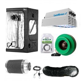 "Lumigrow Pro 325 LED Grow Room Package - 4 x 4 Nutrient Starter Kits *The products in this package have been carefully selected by the Growers House Staff based on their durability, compatibility, and effectiveness. Want an overview of all LumiGrow products? Check out our Everything You Need To Know About Lumigrow LED Grow Lights page. Package Contents: Lumigrow Pro 325 LED Grow Light Plant House Indoor Grow Tent - 4' x 4' x 73  Titan Controls Apollo 8 -- 24 Hour Dual Timer Active Air 4 inch In-Line Fan 165 CFM Black Lightproof Ducting w/Clamps -- 4  X 25' Growers House Carbon Filter 6  x 16  400 CFM Grow Crew 1/8  Ratchet Light Hanger (Pair) 4  Stainless Steel Duct & Hose Clamps -- 1 Pair Component Details: Lumigrow Pro 325 LED Grow Light -Provides Maximum Light Density -Enhanced spectral output covering full PAR (400-700nm) promotes photosynthesis -More red and blue PAR per Watt than any other lighting fixture -Industry's most efficient LEDs -Small hardware footprint minimizes plant canopy shadowing -Puts Control at Your Fingertips -Individually adjustable Red and Blue balance knobs for precise spectral control White-only View mode Compatible with automated control systems -Delivers Advanced Thermal Management for Long-Lasting Performance -Runs 70% cooler than HID lighting Massive heat sinks keep LEDs running cool Operates safely without high voltage -Reduces Your Costs with Energy Efficiency -Pro 325 uses approximately 70% less energy than the equivalent 1,000-Watt HID light and Pro 650 uses 40% less energy Eligible for energy utility rebates Plant House Indoor Grow Tent - 4' x 4' x 73  The Plant House Indoor Grow Tent - 4' x 4' x 73"" gives you total control over your grow space. Built with a reinforced full metal frame and thick, durable sheathing fabric, the sturdy Plant House Indoor Grow Tent - 4' x 4' x 73"" features crossbars to give growers the option of hanging lighting and ventilation systems from the ceiling (maximum load capacity of 110 lbs), opening up the entire 16 square ft of grow spa"