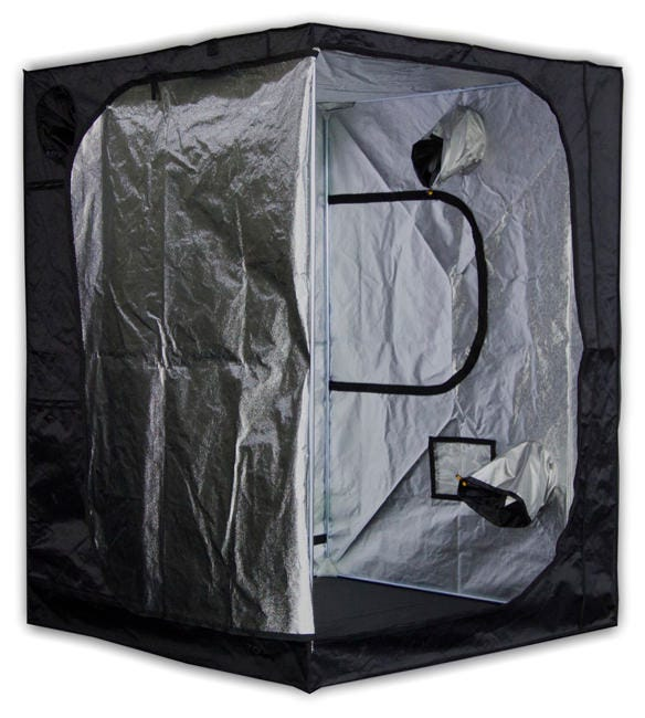 Mammoth Tent - Pro 150 - 5 x 5 x 6.6ft Mammoth Pro 150 - 5ft x 5ft x 6ft 7in- Grow Tent The team at Mammoth used to manufacture grow tents and darkroom products for the Secret Jardin brand. Secret Jardin moved to another manufacturer and now Mammoth can bring driectly to the market their Darkroom and Darkstreet tents (Now Pro and Classic). The same high quality materials and craftsmanship at a great new price. The Mammoth Pro is specially lined with 95% reflective hammered effect mylar fabric (210D), to increase light intensity and improve light distribution. Light-proof, waterproof and pre-equipped for extraction and ventilation, the tents come with equipment bars to support lamps, and carbon filters. Quick and easy to assemble - no tools required New 210D Mylar fabric: 2.5 X tear strength and 3 X abrasion Tough fabric lined with 95% reflective mylar Heavy-duty Steel frame tubes secured with specially engineered corner segments High-quality zips for a totally light-proof unit Hanging tubes with 66 pounds weight capacity for lights, carbon filters, duct fans, etc. Washable at 104 F degrees for quick and easy cleaning Removable waterproof water tray How the Mammoth Pro 150 Works Mammoth Pro Grow Tents are premium products minus the premium price-tag - light-years ahead of the countless low-grade alternatives on the market. They're an intensively researched, tried-and-tested product, designed to provide you with the features required to create the perfect, enclosed growing environment. The team at Mammoth have thought of everything: there are built-in access points to accommodate equipment for every aspect of your indoor garden. The tent's framework is constructed using high-strength steel poles that are secured into position using new, specially engineered polypropylene corner segments - now three times stronger than those of other grow tents. It's also manufactured using heavy-duty fabric. Quality material is crucial to eliminating light leaks and keeping your grow 