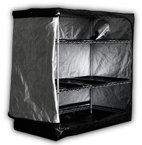 Mammoth Tent - Propagator 125 - 3 x 2 x 2ft (Compare to DP90) The Mammoth Propagator is a unit designed specifically for propagation, with many of the benefits of a Mammoth tent and a waterproof tray bottom. DP3: Propagation, station all in 1: Mother plants, Propagation, Growing, Blooming Up to 2 x 77 Rockwool cubes trays compatible Optional Hydro-Tray 1 x 23.6' x 15.7' inch available Transverse venting windows system