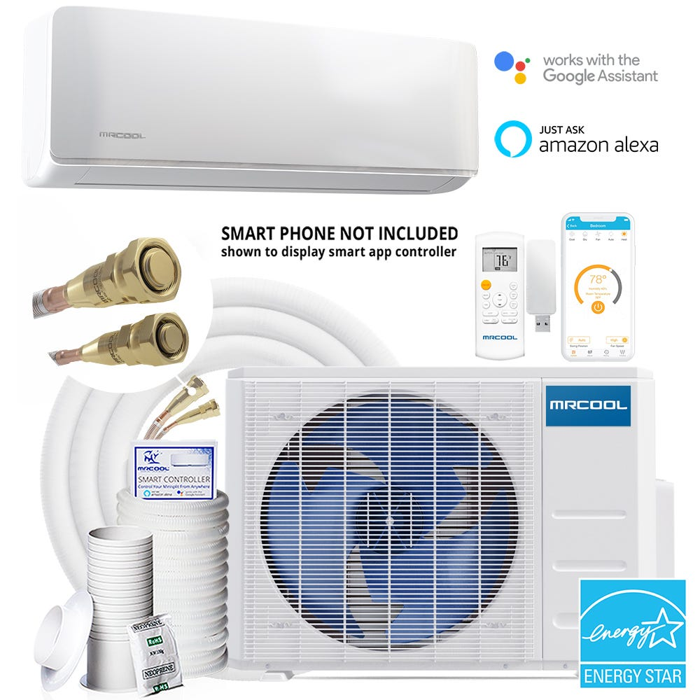 MrCool - E Star DIY 3rd Gen 36k BTU 16 SEER Ductless Mini-Split Heat Pump - 208-230V/60Hz You don't need special tools or training to install this MrCool DIY 36k BTU, 16 SEER Ductless Heat Pump Split System. The MrCool DIY 36k condenser is corrosion-resistant and built for energy-savvy performance with a high efficiency compressor and pre-charged R-410A in a safe and easy Quick Connect line. The system's interior star performer is the MrCool DIY 36k wall-mounted air handler that comes equipped with standard features like Sleep Mode, Low Ambient Heating, and WiFi functionality. This is truly power you can program yourself! This MrCool DIY 36k ductless mini-split comes with everything you need to get your home comfort system up and running in no time! Designed for easy installation, this unit comes pre-charged with the chlorine-free and ozone-safe R-410a refrigerant. It also features a quick connect line set that makes installation less time consuming. No vacumming of the lineset is required, which means no special hvac tools are needed. With it's 36,000 BTU rating, this MrCool DIY 36k unit can create comfort for spaces that are a whopping 1500 to 1800 square feet making it perfect for an open concept home that doesn't have a central air system. Traditional central air systems require a large expense in ductwork and professional installation, making the MrCool DIY 36k a great fit for the cost-conscious homeowner. The louver position memory feature of the MrCool DIY 36k will ensure that you get the air circulation where you last set it, so you get consistent airflow where you want it. Not only that, but if you have your wireless remote handy, the wall unit will track your movement and ensure you have comfortable conditions around you at all times. Plus, the MrCool DIY 36k is fully functional with the MRCOOL Smart Controller for Google Assist and Alexa compatibility. If you ever experience a power outage while you're sleeping, this unit has you covered! It has an auto r
