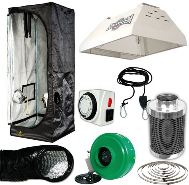 315w Closet Ceramic Metal Halide (MH) Grow Room Package - 2 x 2 Package Contents: - Sun System LEC 315w Light Ceramic MH Fixture 120v - Secret Jardin Dark Street II DS60, 24  x 24  x 56  - Titan Controls Apollo 8 -- 24 Hour Dual Timer - Active Air 4 inch In-Line Fan 165 CFM - Ideal-Air Silver/SIlver Ducting -- 4  X 25' - Black Ops Carbon Filter 4  x 12  200 CFM - Grow Crew 1/8  Ratchet Light Hanger (Pair) - 4  Stainless Steal Duct & Hose Clamps -- 1 Pair DETAILS: Sun System LEC 315w Light Ceramic MH Fixture 120v Sun System LEC 315w Light Ceramic MH Fixture 120v utilizes cutting edge Light Emitting Ceramic Metal Halide (MH) technology. Highly efficient agriculturally engineered CDM-T Elite 315/930/U/E Agro Lamp (lamp included). Greatly improved full color light spectrum out of next generation ceramic lamps. Higher amounts of beneficial UV and far red spectrums increase the lamps growth power to the plants. Very high 1.95 PPF per second light source. 3100K color temperature, high 92 CRI, 33,000 initial lumens (105Lm/W). Long life 20,000 hour lamp. High 90% lumen maintenance @ 8000 hr./High 85% PPF maintenance @ 20,000 hr. Unique open rated lamp construction reduces radiant heat from the arc tube and is suitable for open fixture use. 50/60 Hz low frequency, square wave, highly efficient electronic ballast rated for 50,000 hour ballast life. LEC 315 driver incorporates built in thermal protection. One year warranty lamp. This product comes with everything you need to run it out of the box including the reflector with a built-in Philips ballast, and the 315w Philips ceramic metal halide bulb. This is the 120v version (240v version also available), and it comes with the Philips Mastercolor LEC 315 Ceramic Metal Halide 3100k lamp. Secret Jardin Dark Street II DS60, 24  x 24  x 56  The DARK STREET II is specially lined with 95% reflective hammered effect mylar fabric (190D), to increase light intensity and improve light distribution. Light-proof, waterproof and pre-equipped for extraction and ventilation, the tents come with equipment b
