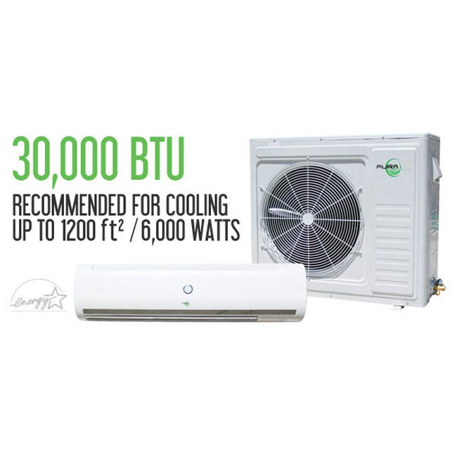 Aura Systems 30,000 BTU Mini Split AC Unit 16 SEER Aura Systems 30,000 BTU Mini-Split (AU-030) Aura Systems line of ductless mini-split DC Inverter air conditioners are, very efficient, dependable, and also affordable! Crafted from high-quality Japanese internal components made from the highest grade pure copper coils and lines! These units are not only great for light commerical use, but residential use as well! The Aura AU-030 is capable of producing 30,0000 BTU's power, that's enough to heat or cool 1200 square feet of living space, or 6,000 Watts! This line of units feature the easiest, and most reliable quick connect fitting available! (w/o quick connect option also available). Aura Systems mini-splits are ETL Listed and Energy Star approved Cooling Capacity Btu/h: 30,000 kW: 7.03 Electrical Parts Power Supply: 208-230V/60 H/1 Ph Power Input: 2000 Watts Current: 8.8 Amps Performance SEER: 16 Operates in: degrees celcius Dehumidifying: 1.7kg/hr Air Flow Volume (INDOOR): 1300 / 1150 / 1020 Air Flow Volume (CFM): 765 / 677 / 600 Noise Level (INDOOR): 50 / 47 / 44 db(A) Noise (OUTDOOR): 59 db(A) Dimensions and Weight Net Dimensions (INDOOR): 49-3/16″ x 12-13/16″ x 9-1/16″ (W x H x D) Net Dimensions (OUTDOOR): 35-4/16″ x 33-14/16″ x 13″ (W x H x D) Packing Dimensions (INDOOR): 52-15/16″ x 16-15/16″ x 13-3/16″ (W x H x D) Packing Dimensions (OUTDOOR): 41-1/16″ x 36″ x 15-9/16″ (W x H x D) Net Weight (INDOOR): 40 lbs Net Weight (OUTDOOR): 150 lbs Gross Weight (INDOOR): 55 lbs Gross Weight (OUTDOOR): 160 lbs Piping Size (LIQUID): 3/8″ Piping Size (GAS): 5/8″ Warranty Information 1 Year – Bumper to Bumper 5 Years – Compressor VOID if non-quick connect unit is not installed by a licensed HVAC technician VOID if compressor is in attic or room without proper ventilation VOID if hooked up with incorrect voltage