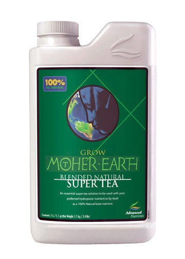 Advanced Nutrients - Mother Earth Organic Tea Grow - 10 L This Item Has Been Discontinued Super Teas are meant to give plants natural supplements, nutrients, and vitamins missing from chemical fertilizers. Growers report that Mother Earth Super Tea Bloom enhances fragrance, taste and quality of flowers and fruits. This versatile product is great indoors or outdoors, and can revitalize depleted soils in flower and vegetable gardens. Mother Earth Super Tea Grow can be used as a comprehensive organic grow phase fertilizer because it has the correct nutrient ratio for plants you care most about. Growers tested Mother Earth Super Tea Bloom against Pure Blends tea product, and found that our Tea outperformed Pure Blends. That?s because our Tea contains alfalfa extract, which provides 80 phytochemicals that enhance floral potential. Indredients: Alfalfa Extract Canola Meal Citric Acid Crab Meal Earthworm Castings Fish Meal Sea Kelp Shrimp Meal Available in 1L, 4L and 10L sizes.
