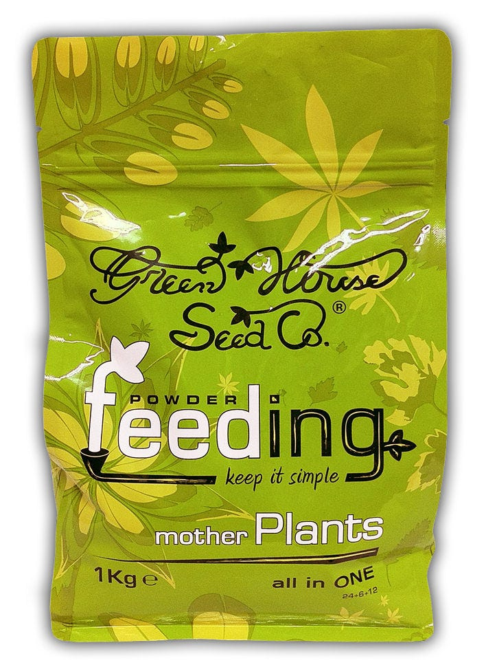 Powder Feeding - Grow - Complete Nutrient Specifically engineered for the vegetative growth stage, Green Seed Co Powder Feeding Grow Nutrient allows perfectly balanced nutrition for mother plants, young plants and rooted cuttings. Contains all basic minerals and trace elements in a very soluble form. Does not contain urea so it is fully readable on any EC meter. Green Seed Company developed this feeding specifically for people that keep mother rooms and produce cuttings, and for those who want to focus on vegetative growth with a particularly dedicated formula. The high Nitrogen content is readily available to plants and the salt-buildup in the medium is minimal, requiring less frequent flushing. Plants grow faster, greener, and more vigorous than ever before. It can be used in earth, coco, hydroponics and aeroponics with the same great results. COMPOSITION N-P-K-Mg: 24+6+12+(1.2) CONCENTRATION OF ELEMENTS 24% N Total Nitrogen 13% NS Nitrogen Nitrate 11% NA Nitrogen Ammoniacal 6% P2O5 Nitrogen Phosphorus 12% K2O Soluble Potassium 1.2% Mg Soluble Magnesium (=1.2% Mg) 0.02% B Soluble Boron 0.04% Cu Soluble Copper (as Chelate form EDTA) 0.1% Fe Soluble Iron (as Chelate form EDTA) 0.05% Mn Soluble Manganese (as Chelate from EDTA) 0.01% Mo Soluble Molybdenum 0.01% Zn Soluble Zinc (as Chelate from EDTA) DILUTION PROPORTIONS Concentration gr./Lt.: 0.5 1 1.5 2 EC (mS): 1 1.4 2 2.6 These values are calculated starting from tap water at medium hardness with EC 0.7 RECOMMENDATIONS SEEDLINGS / ROOTED CUTTINGS METRIC: 2.5 - 5 gr. / 10 Lt. water US: 0,09 - 0,17 oz. / 2,64 US gallons water MOTHER PLANTS (3 WEEKS+) METRIC: 10 gr. / 10 Lt. water US: 0,35 oz. / 2,64 US gallons water UK: 0,35 oz. / 2,1 UK gallons water IN SOIL: FEED EVERY OTHER WATERING. IN HYDROPONICS COCO: FEED AT EVERY WATERING. RECOMMENDED PH Growth 5.5 - 6.0 For foliar feeding on mother plants or cuttings dilute 100 ml. feeding solution into 900 ml. of water.