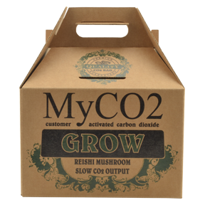 MyCO2 Mushroom Bag - Grow MyCO2 – Mycelium Derived Carbon Dioxide are CO2 bags perfected. Unlike all the other CO2 bags that  come cultivating CO2 even before you get out of the checkout line,  MyCO2 has the patent pending customer activation technology, postponing the CO2 cultivation until you get it home and are ready to use it. One CO2 bag provides enough carbon dioxide for begging plants in a 4ft x 4ft grow tent with cycled exhaust. Use during the veg stage. We recommend safely placing multiple MyCO2 generators above the highest level of your plants to insure they receive the CO2 as it is generated. Below are recommendations for grow tents or similar sized grow rooms to reach optimal CO2 levels. These are just recommendations as there are several variables you must consider when determining how many MYCO2 AIR bags you will need. These considerations include ambient CO2 levels, tent/room size, and amount of vegetation using up the CO2. Up to 400 watt light in a 4x4 tent - 1 bag 600 watt light in a 4x4 or larger tent- 2 bags 1,000 watt light in a 5x5 tent- 3 bags We recommend replacing MYCO2 AIR bags every 3-4 months.   When MYCO2 Grow AIR bags are done producing CO2 for your growing needs they can be fruited to produce nutritious Reishi mushrooms.   To dispose of simply compost the contents of the bag. Benefits of REISHI mushrooms When MYCO2 AIR bags are finished producing CO2 for your growing needs they can produce nutritious Shiitake mushrooms for you to enjoy. To stimulate the MYCO2 AIR block to fruit mushrooms place it into the refrigerator overnight. When you remove the block from the refrigerator take it out of the bag and rinse the block under COLD water. The block will be covered with a dark fluid and will continue to produce small amounts of this fluid during the fruiting cycle. Place the block in a covered container such as a propagation tray with a clear dome. This will allow the humidity to remain high
