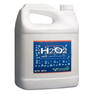 H2O2 Hydrogen Peroxide 29% - 20 L A 29% liquid concentrate solution that adds oxygen to nutrient solutions through chemical compounds. This sterilization additive is excellent for cleaning and disinfecting hydroponic equipment, materials, and growing areas. Uses: A great source of oxygen for water. Preserves fresh cut flowers. Can be used to keep unwanted nutrient residuals clear in reservoirs, drippers & dripper lines. Part of a well balanced nutrient solution. How it Works: Helping your plants Researchers believe plants need oxygen to survive, just as humans do. The amount of oxygen plants need must be over 20% or they will not survive. Plant health and vigor heavily rely on the roots getting enough oxygen, because the roots of a plant need oxygen to convert carbohydrates to energy. As a result, plants can only produce fruit or vegetables in proportion to root growth of the plant. Root Zone Aeration A quick and easy way to increase oxygen to the root zone is to aerate the nutrient solution in the reservoir. Adding H2O2 is a great way to oxygenate nutrient solutions in reservoirs. An extra oxygen hydrogen atom is created when water is added to H2O2. The compounds then become very unstable and the extra 02 molecule separates leaving an increased level of water and oxygen in the reservoir. Usage Instructions Directions Fill container or reservoir with water or nutrient solutions. Dilute 3 ml of H2O2 for every 4 litres of water or nutrient solution. Always Dilute H2O2 into water! Add to nutrient tank every 3-5 days. Danger: Toxic or fatal if swallowed at full strength. Contact with clothing or combustibles may cause fire. Avoid contamination from any source including metals, dust, or organic chemicals. Contamination can also lead to rapid decomposition. Caution: Keep out of the reach of children. Avoid contact with clothing, skin, or eyes. Avoid inhalation. Store in a cool dark place. Rinse empty containers and then discard.