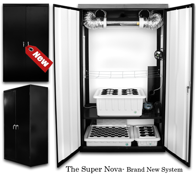 SuperCloset SuperNova - Grow Boxes The average lead time for this product is approximately 2 to 3 weeks because each unit is built-to-order. SuperCloset's Award Winning Grow Boxes SuperCloset Grow Boxes arethe Award Winning Complete Automated Hydroponic Grow Systems that Come with Everything You Need to Effectively Grow Indoors. Our Unique SuperPonics System Grows Your Plants Up to 5X Faster, Bigger, and Easier Than Any Other System. Grow Your Own with the Only Fully Automated, Fully Assembled, Quiet, Safe, Beautiful, Air Tight, Light Tight, Locking, InfraCool, Powder Coated Black Grow Boxes, Designed to Fit Perfectly in Your Home! Our grow boxes truly take the Guesswork Out of Growing. We have created the ideal indoor gardening environment inside of our grow boxes, in which every key detail has already been considered and incorporated into our professional design. You will therefore have the luxury of following the included simple instructions, DVD, and Grow Like a SuperPro Complete Video Growing Series that will take you from seed to harvest in a few short entertaining video tutorials to attain results comparable to those of Master Growers. Follow these simple steps to achieve amazing results and the highest quantity and quality yields 1. Refresh your reservoir every 1 – 2 weeks 2. Add nutrients to the system 3. Adjust your pH 4. Sit back and watch 'em grow SuperCloset Grow Boxes and Grow Rooms are the ONLYAll-in-One Hydroponic Grow Boxes that include all of the following: A full spectrum Dimmable & Digital Lumatek Lighting System on AdjustableYo-Yo's for Full Light Control and Maximum Penetration Activated Carbon Scrubber for Complete Air Filtration Fully Automated SuperPonics System which grows your plants up to 2-5x Faster than traditional methods by combining Top Feed, Deep Water Culture, Bubble, Aeroponics Adjustable Cloning Chamber with SuperCloner giving you 100% Cloning Success. Powered by two cool white 6500k lights. Perfect for seedlings