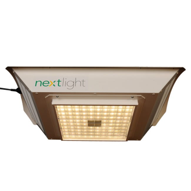 """NextLight LED 525W Grow Light The NextLight 525w LED Grow Light is a full spectrum unit. It has a grow footprint of 3' x 3' for flower and 5' x 5' for veg. This unit has an actual output of 525 watts at the wall. 70,000 hour life rating which equates to 14 years at 12 hrs on/12 hrs off. No more bulb replacements. Designed for use from seed to harvest. Perfect for 3' x 3' or 4' x 4' tents or large grows. Energy Efficient Design NextLight 525w can maintain a 70,000 hour life rating at 100 degree F ambient conditions. Using the best LEDs money can buy NextLight can ensure longer life and better performance. Each system holds 96 American made, full spectrum white LEDs — using just 525 watts versus the typical HPS 1000 which uses 1100 watts. NextLight's unique makeup also means that it emits a full 75% less heat than than 1000 watt HPS. This puts a significantly smaller load on the cooling system — relieving additional stress on power consumption and further cutting electric costs and extending its life. Thermal Design Extensive thermal design has determined the most efficient way to run the LEDs at very high current. Throughout its life, the LEDs are driven at a higher current, creating a more intense point source and leading to better canopy penetration. And the light that is penetrating the canopy is the spectrum that is proven to grow. NextLight 525w is a true HPS 1000 replacement The green line represents NextLight's 525w spectrum, which encompasses the full spectrum of the HPS 1000. Unlike the misguided purple LEDs of the past, NextLight matches and extends powerful white light that's proven to grow. The promise of LED Grow Lights is now reality In years past, the promise of LEDs didn't always match the expectations. Coming onto the scene in the 1990s, White LEDs were still a rather new invention — and the somewhat suspect overseas manufacturing left much to be desired. Additionally the variety of colors that were touted to be the """"perfect grow spectrum,"""" furth"""