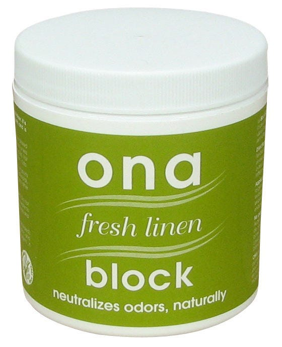 Ona Block Fresh Linen -- 6 oz The ONA Block Fresh Linen is ideal for small areas such as closets, foyers, attics, cars, gym bags, boats, kitchens, garbage cans, cupboards or vents. Simply remove the cap, or punch several small holes in the cap and place in desired location. The ONA Block measures 3  x 3  and will fit in most places. The ONA Block will release its powerful odor neutralizing agent and keep the location free from undesirable odors. Replace as necessary.
