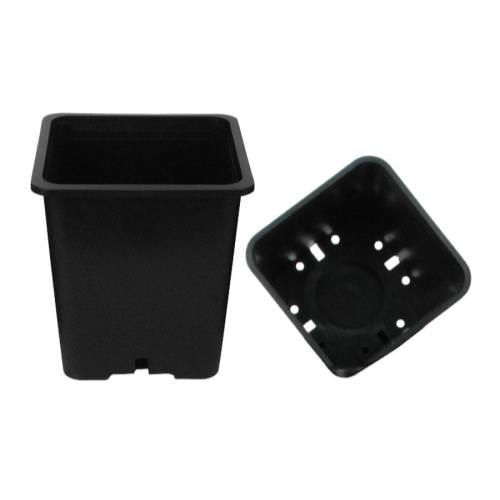 Premium Square Black Plastic Pots These pots are durable and versatile. They are injection molded containers manufactured with high-grade polypropylene. They feature a tag locator slot for the uniform display of stick tags.