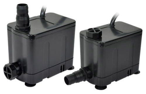 EcoPlus Convertible Bottom Draw Water Pump 585 GPH The EcoPlus® Convertible Bottom Draw Pump is the first hydroponic pump of its kind. With an inter-changeable outlet fitting, this line of pumps fits almost all hydroponic applications. The bottom draw inlet allows the pump to operate in less than 1/2 inch of water. The convertible outlet offers the freedom of a horizontal or vertical water outlet, allowing the user to choose the best water flow option for their needs.