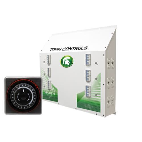 Titan Controls Helios 14 - 24 Light 240V Controller with Timer The Helios 14 Twenty-four (24) light controller with 24 hour timer provides up to 24,000 watts of lighting control. This 'Professional Series' commercial lighting controller is built using industrial grade Allen Bradley components, one of the most respected names in the industry! And it's built right here in the USA! Titan Controls continues to bring you the top quality controllers that you've come to expect. Gardening with the gods, what could be better! Helios 14 controls up to 24 1000 Watt HID lights at 240 Volts The only lighting controllers featuring industrial-grade Allen Bradley circuit breakers and ballast rated relays Reliable 24 hour timer with 150 hour battery back-up in case of power failure Sequenced lighting delays for each light bank ETL listed for use in commercial applications NEMA 6-15 UL listed 240 VAC power outlets 20 gauge powder coated steel chassis 150 Amps/ 240 Volts = Input power 120 Amps/240 Volt = Output power Single phase power required 60 Hz. Manufactured in the USA! 3 year warranty